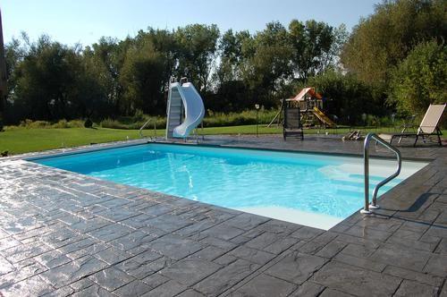 pool, slide & stamped concrete | pools | pinterest | piscine