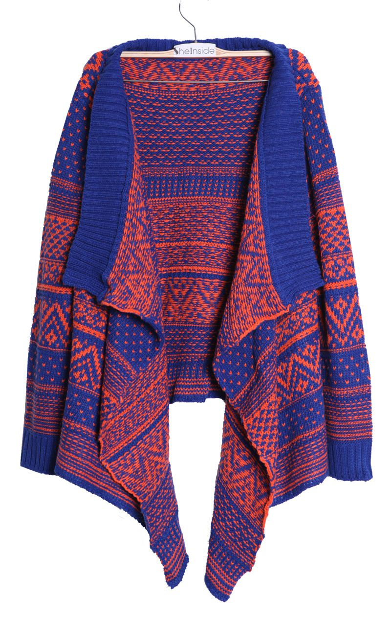 bf2d925a4d1dc5 Blue and Orange Striped Tribal Asymmetric Hem Cardigan Sweater ...