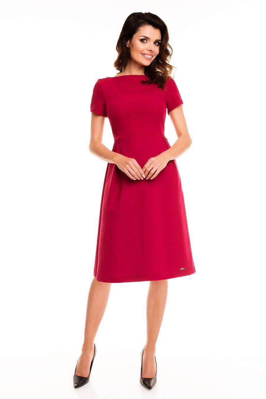 cec0cc0e00 Sukienka Wizytowa Rozkloszowana Bordowa A130