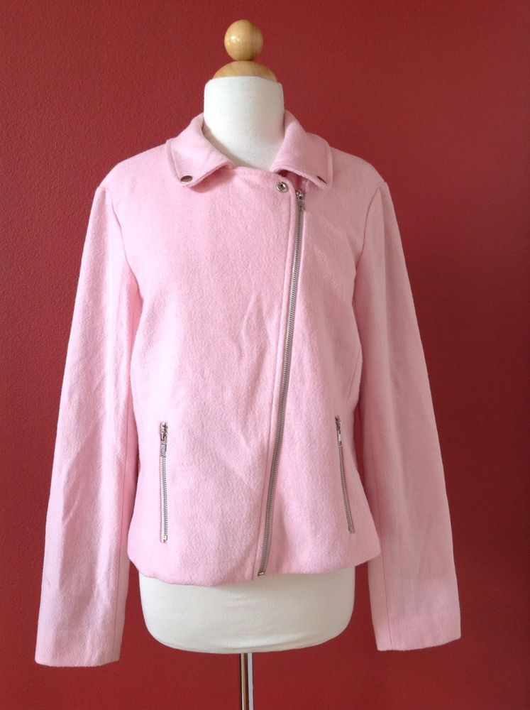 ACE DELIVERY Pink Wool Blend Asymmetrical Moto Jacket Size M #ACEDELIVERY #BasicJacket