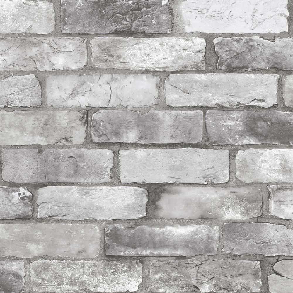 A Street Prints Rustin Grey Reclaimed Bricks Paper Strippable Wallpaper Covers 56 4 Sq Ft 2922 25386 The Home Depot In 2021 Brick Wallpaper London Brick Grey Brick
