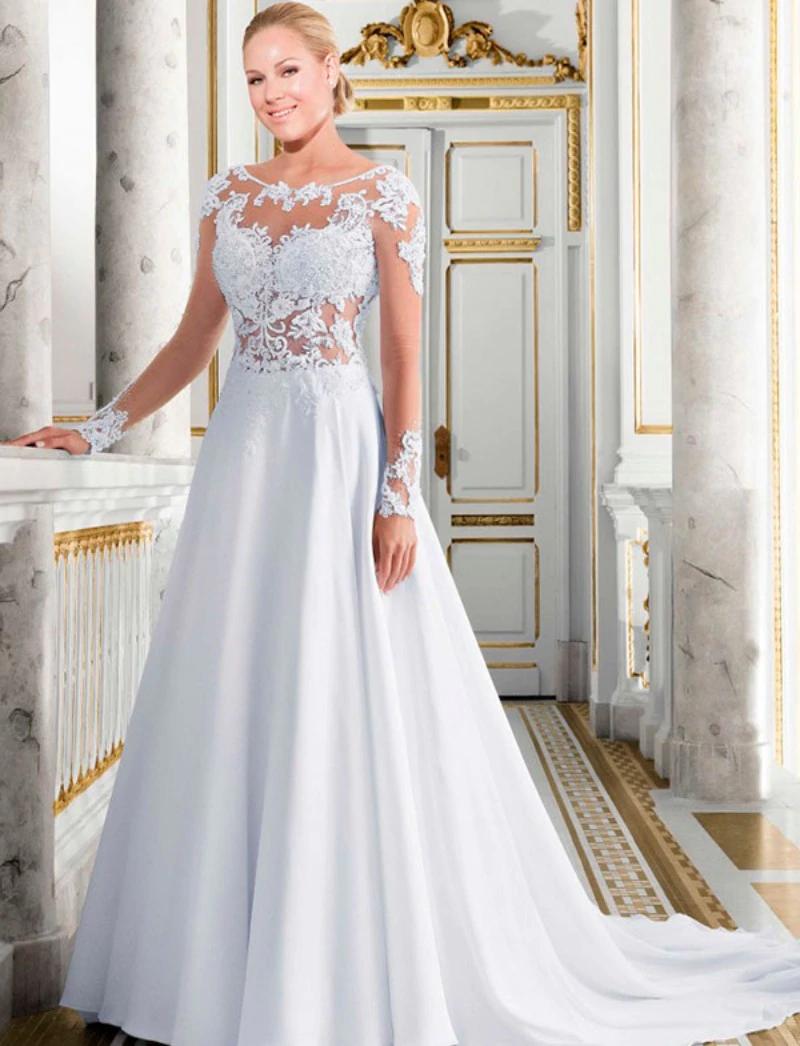 Eightale Long Sleeve Wedding Dresses 2019 ALine Lace
