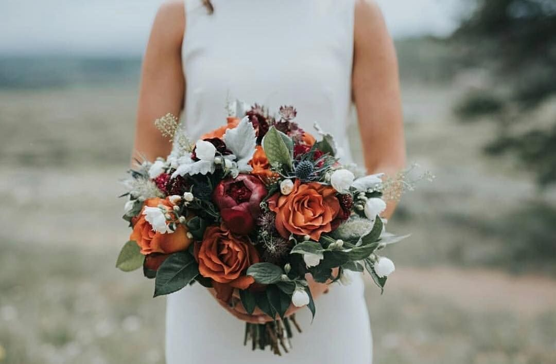 Burnt Orange Burgundy White Green And Blue Bridal Bouquet By