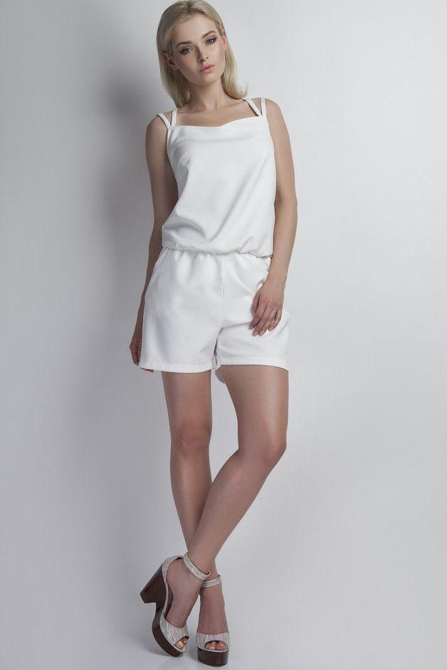 Jumpsuits & Dungarees – Elegant minimalistic JUMPSUIT in WHITE – a unique product by Lanti_Official via en.DaWanda.com