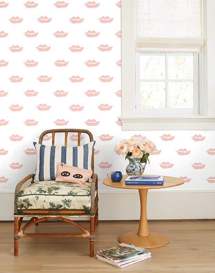 Lulu & Georgia Lips Wallpaper by Clare V., Pink