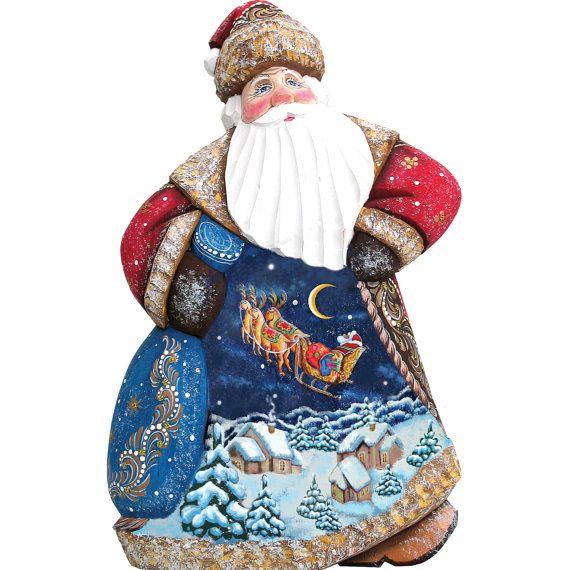 Santa Carving Dashing Away Dancing Santa Hand Carved And Hand Painted Decorative Art Wooden Santa Clause Masterpiece Collection 8214813 Santa Carving Dancing Santa Santa Figurines