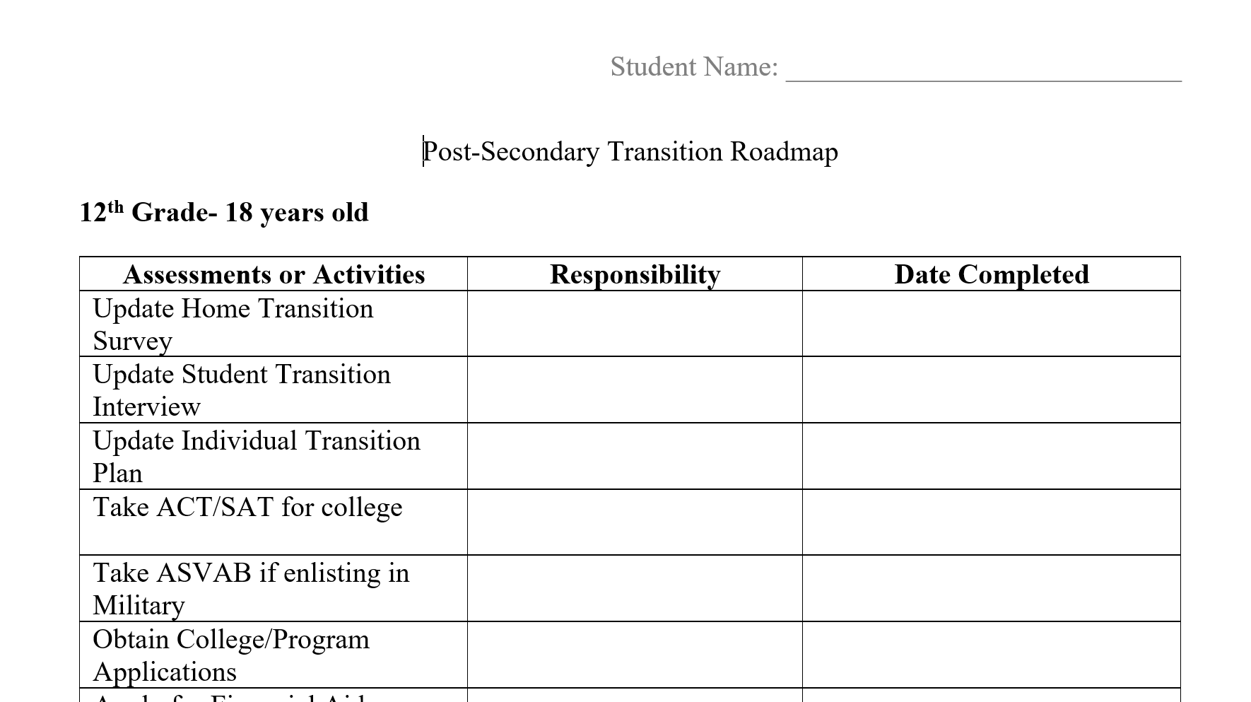 Transition Roadmap 12th Grade Post Secondary Iep Goals
