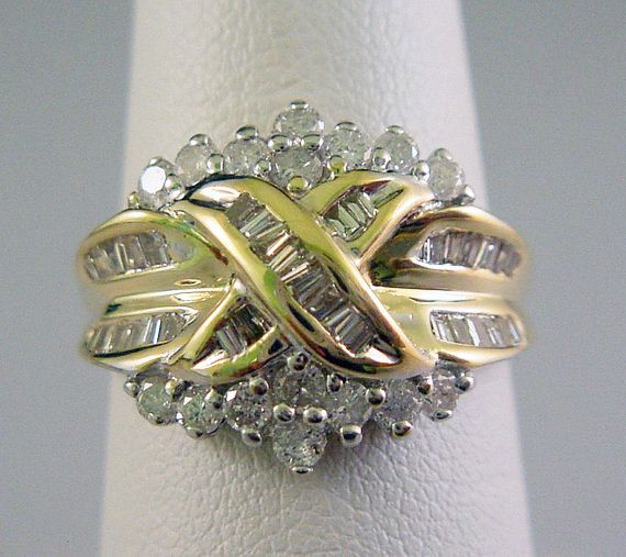 Gold Diamond Ring Womens 1ct Baguette and Round Solid 10K Yellow Gold by americanjewelryco, $425.00