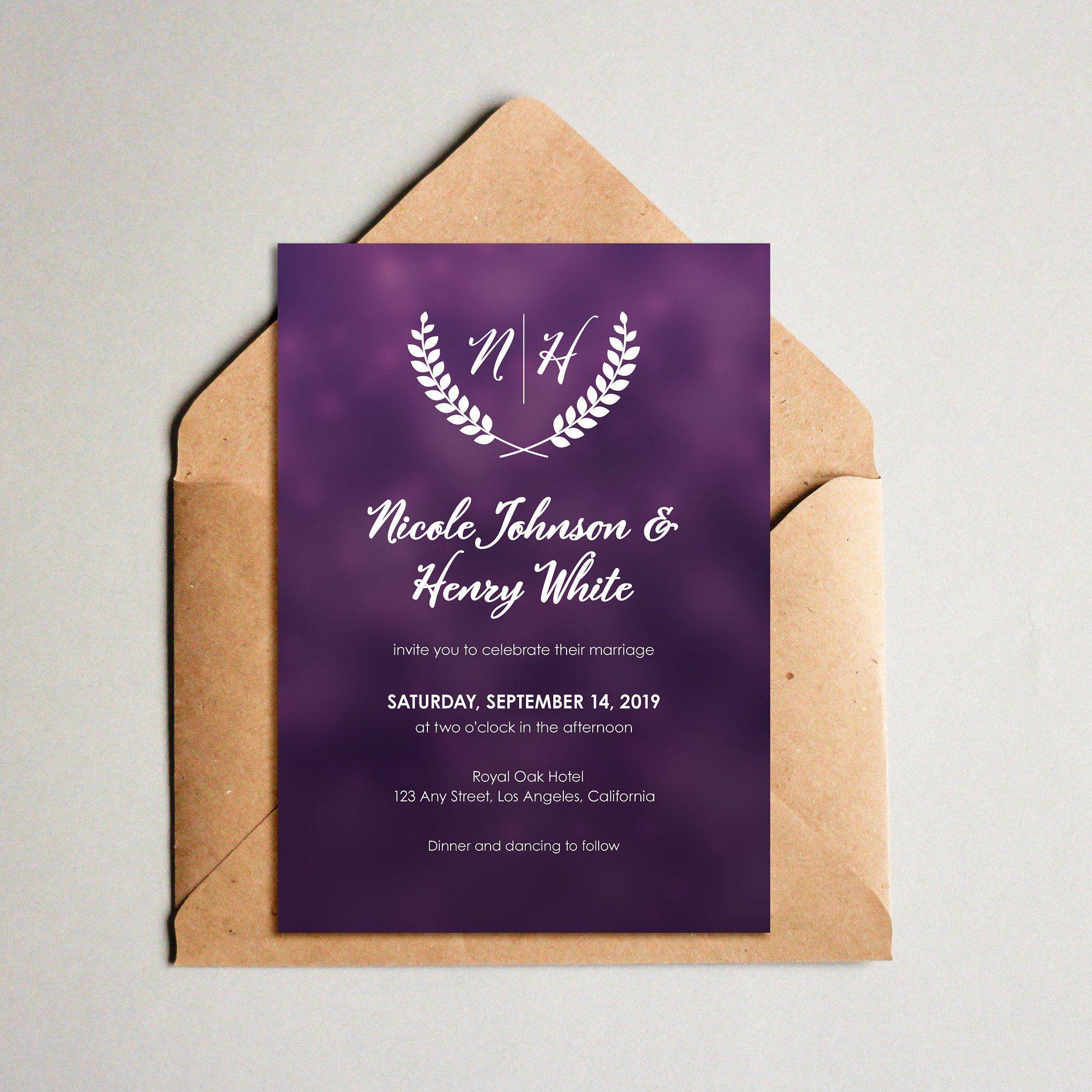 Purple Wedding Invitation Template Wedding Invites With