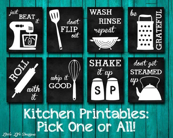 Kitchen Decor. Kitchen Utensil Art. Kitchen Wall Art. Funny Kitchen  Chalkboard Signs.