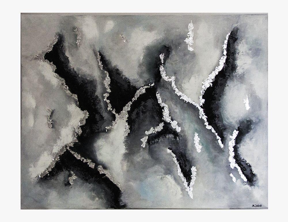 Oil colour on canvas, metal leaf, size 70 x 90 cm.