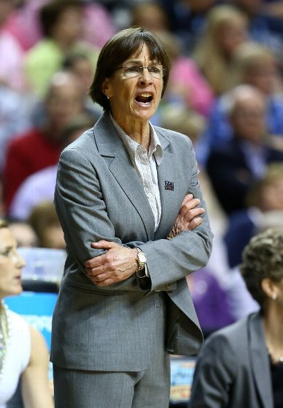Head coach Tara VanDerveer of the Stanford Cardinal looks on from the bench in the first half against the Connecticut Huskies during the Final Four