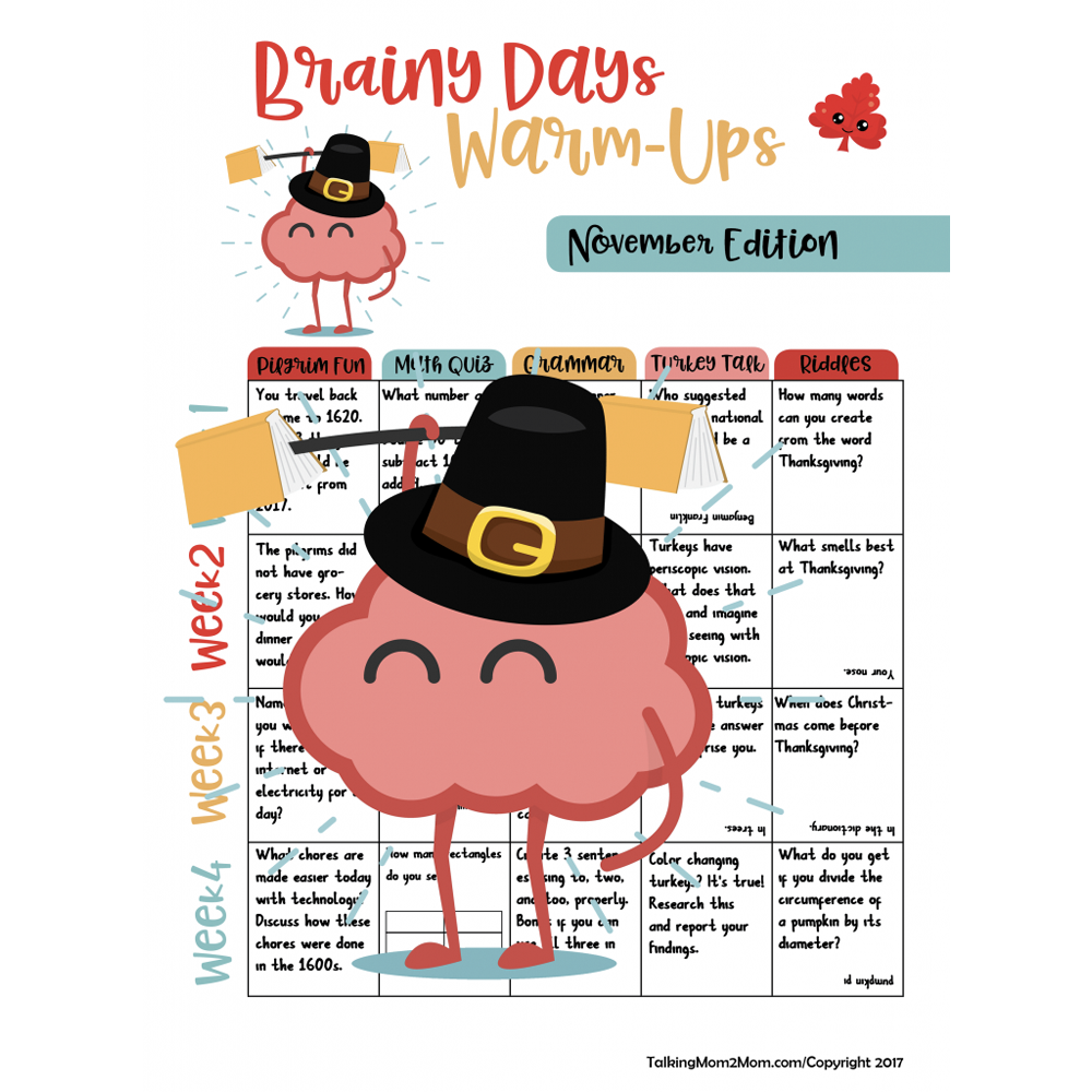 FREE Brainy Days Calendar Thanksgiving Edition is HERE