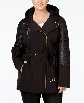 9cd75de85f516 MICHAEL Michael Kors Plus Size Hooded Faux-Leather-Trim Asymmetrical Jacket