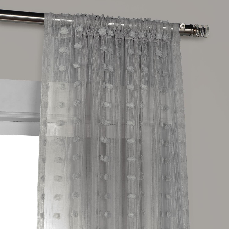Strasbourg Dot Grey Patterned Linen Sheer Curtain Sheer Linen