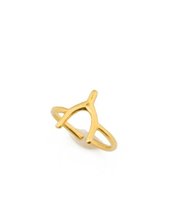 Wishbone Ring Gold Ring Adjustable Ring Good Luck by OlizzJewelry