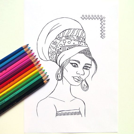 African Girl Coloring Page African Girl with Turban Printable - copy free coloring pages for ruby bridges
