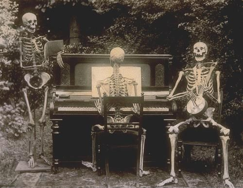 Im-gonna-miss-this-place: Three skeletons at a piano, 1893 (from the National Archives, UK) - #archives #im-gonna-miss-this-place: #National #piano, #skeletons