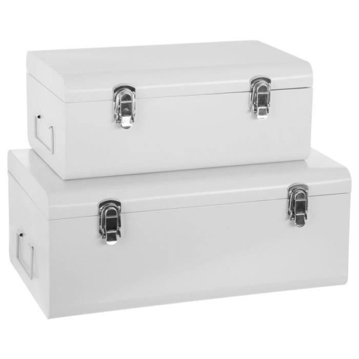 Set De 2 Malles Rectangulaires Cantine Blanc 19 Cm En 2020 Malle De Rangement Malles Et Coffres Coffre De Rangement