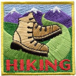 Hiking, Hike, Boot, Mountain, Stream, Path, Patch, Embroidered Patch