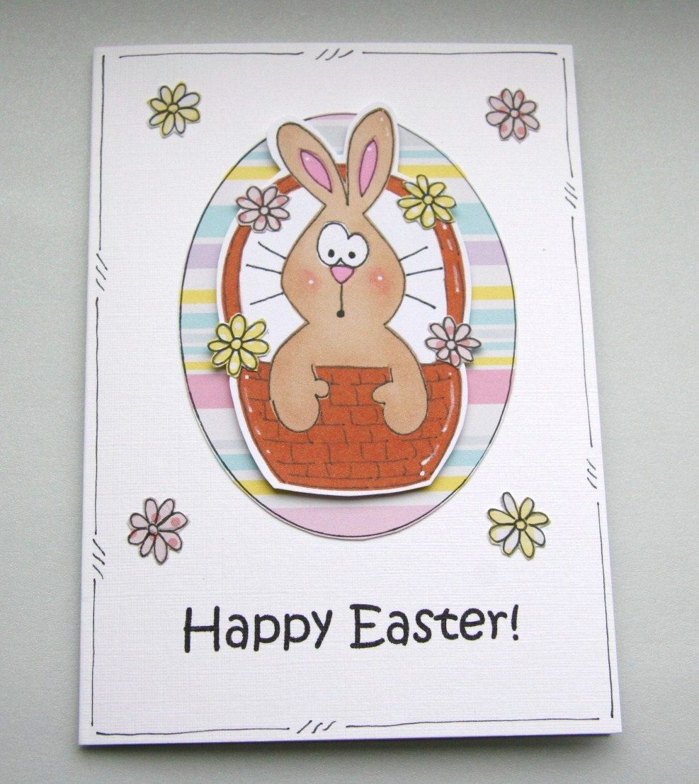 Bunny in a Basket Flowery Easter Card. £2.35, via Etsy.