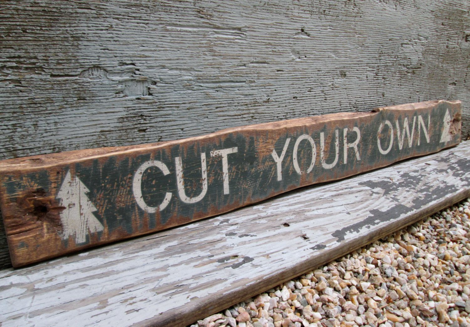 IN STOCK Cut Your Own Rustic Distressed Wood Christmas Tree Lodge Cabin Sign by TheUnpolishedBarn on Etsy