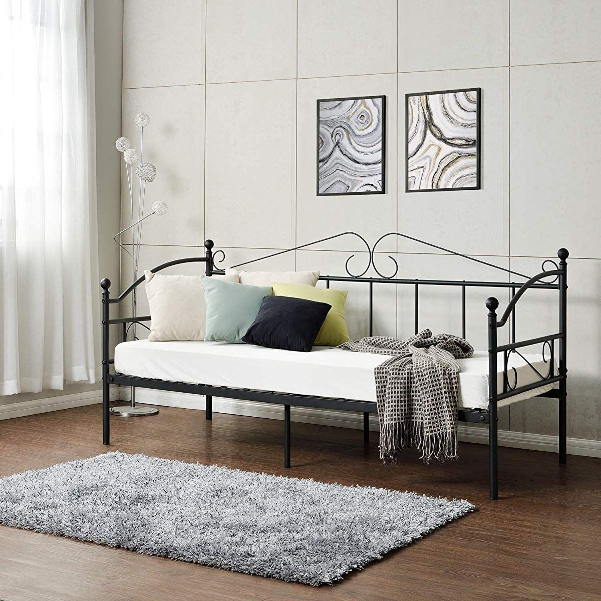 GreenForest Metal Daybed Twin Size with Headboard Metal