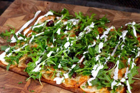 Flatbread Pizza Potato Arugula Sour Cream Chives Olive Truffle Lemon Taste With The Eyes Flatbread Pizza Eat Pizza Flatbread