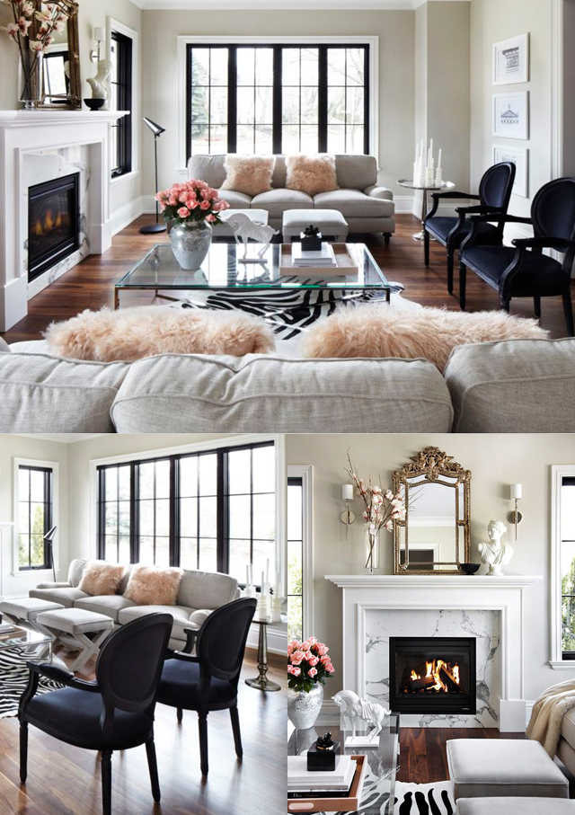 Beautiful Parisian chic living room with marble, muted colors, and ...