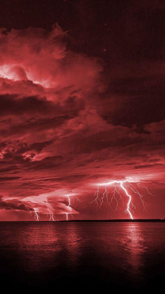 Wallpaper Red Lightning Phone Lighting Storm In 2019 Black
