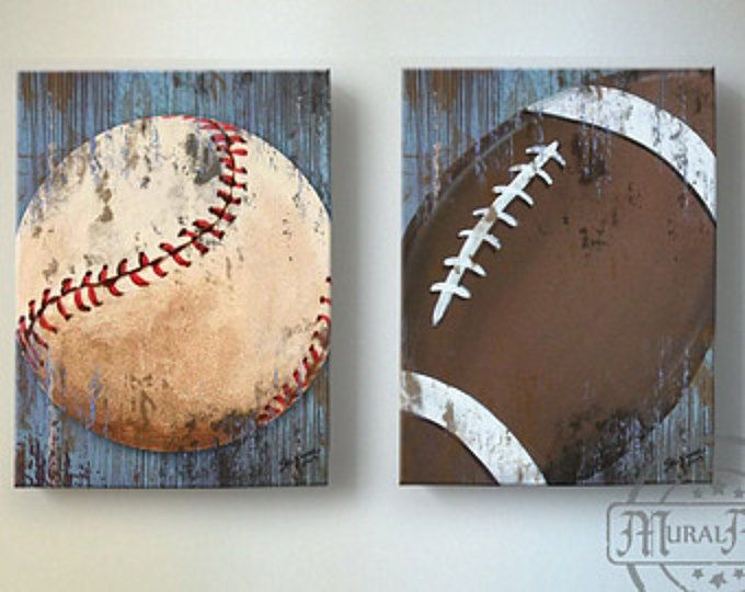 Baseball And Football Sports Wall Art Baseball Nursery