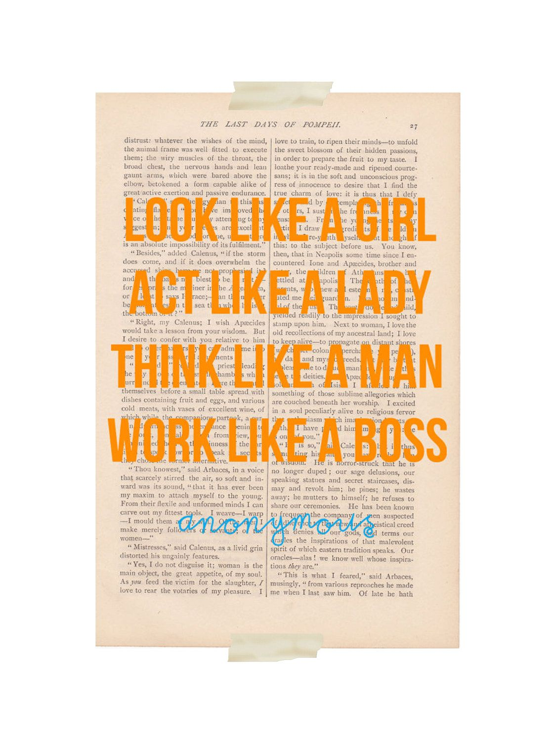 Dictionary Art Print Page Act Like A Lady Think Like A Man Print