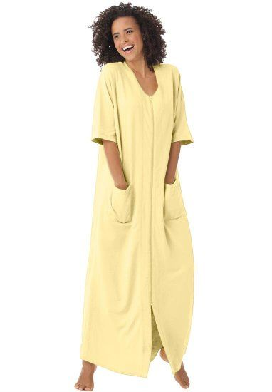 Dreams & Co. Women's Plus Size Long robe in french terry