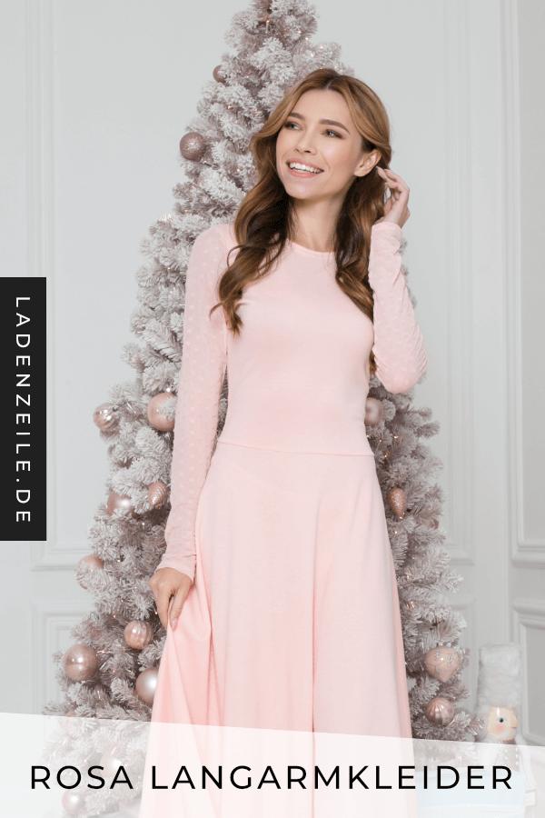 Rosa Langarmkleider | Rosa kleid lang, Rosarote kleider ...