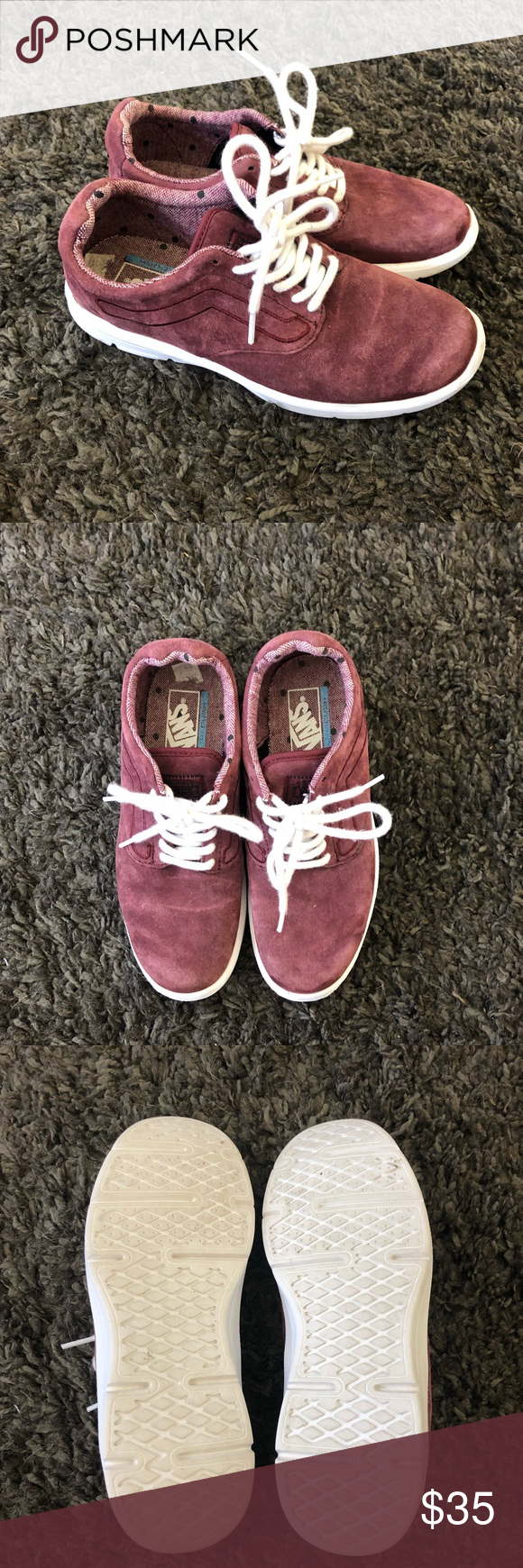0ee1980d55cc74 Maroon Vans Super cute shoes! Only worn a handful of times so they re in  great condition. Suede like material. Vans Shoes Sneakers