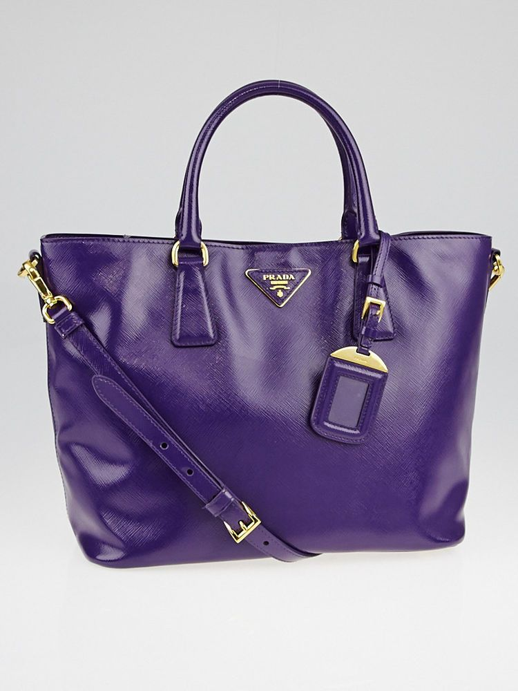d32776677504 Prada Purple Saffiano Vernice Leather Tote Bag  Prada  EverydayBags ...