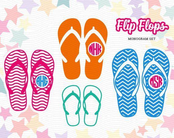 53d602db6 Flip Flops Monogram Labels (SVG EPS DXF Studio3) Summer Family Sandals Cut  File for Silhouette Studi