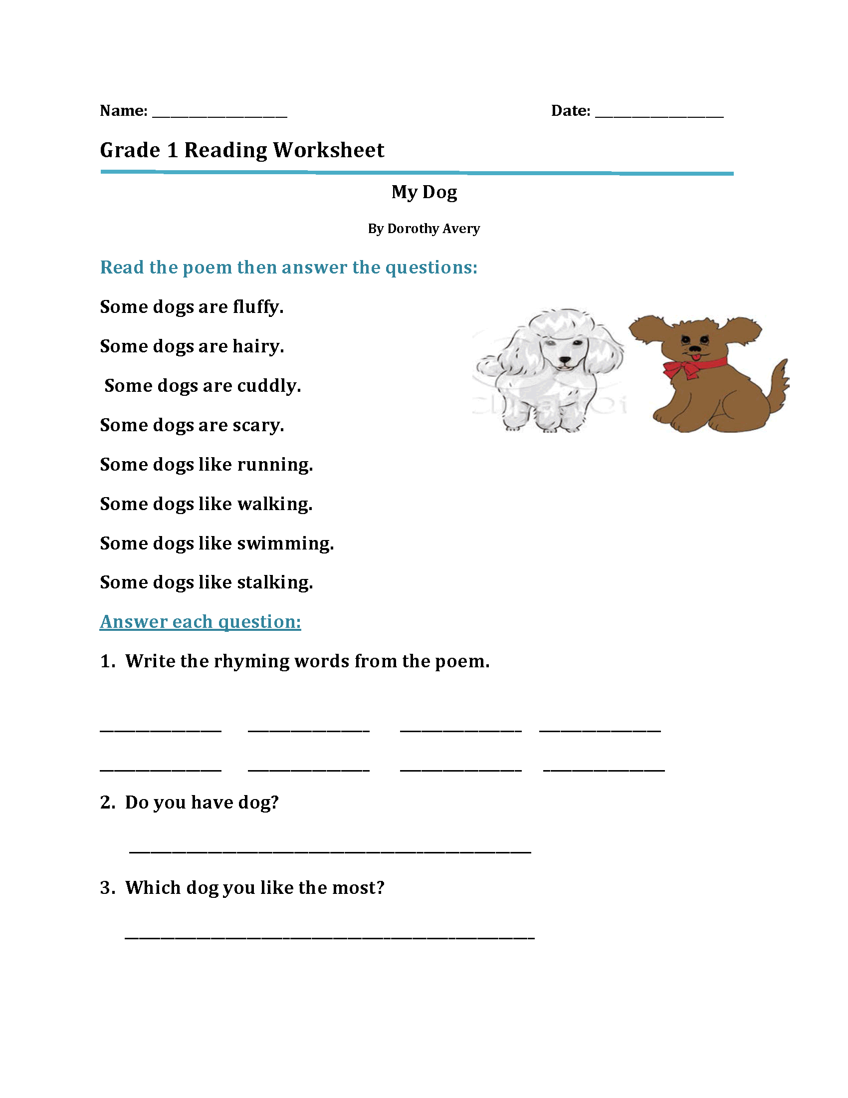 Printable Reading Worksheets