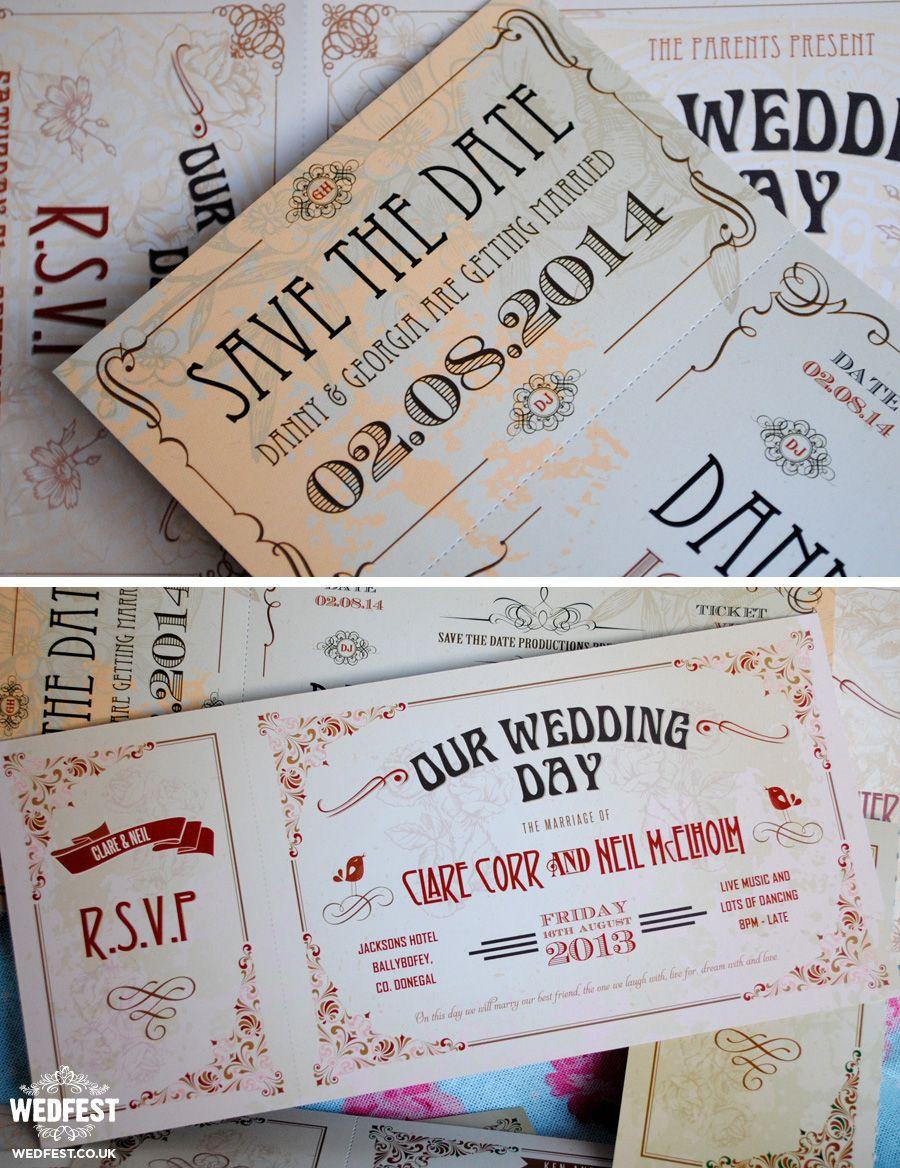 movie ticket stub wedding invitation%0A Vintage Ticket Style Wedding Invites
