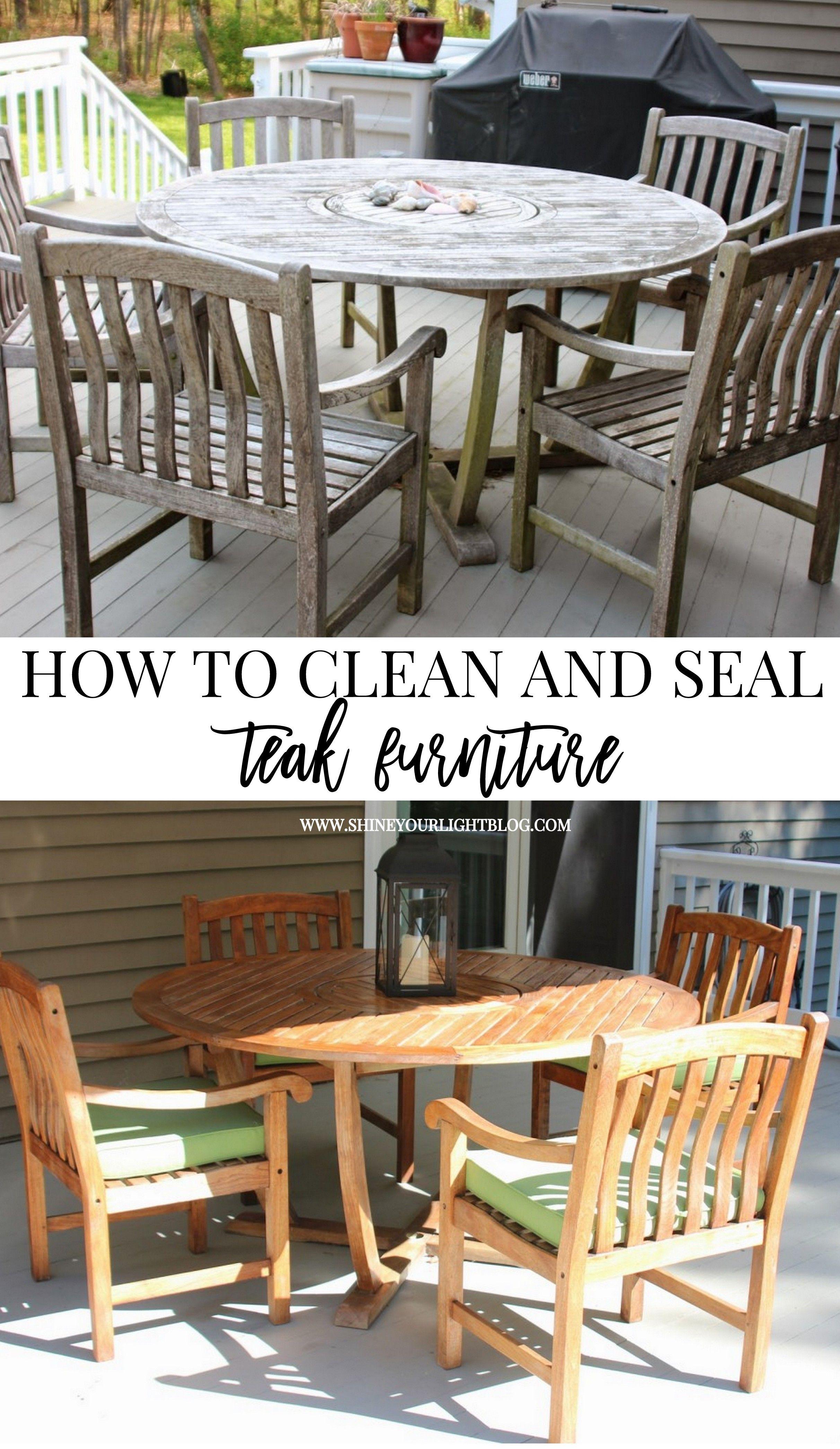 Cleaning & Sealing Outdoor Teak Furniture Backyard