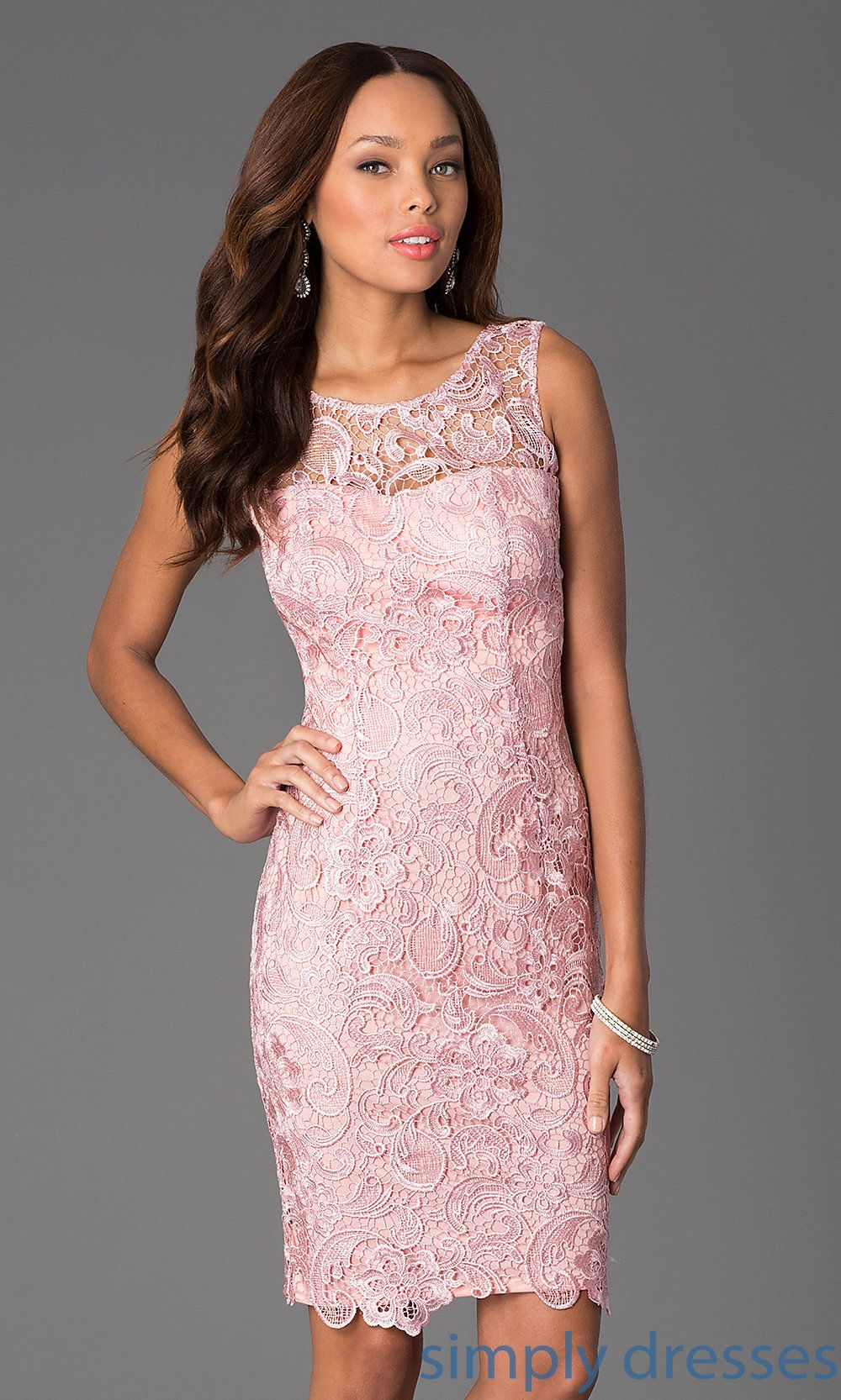 DQ-8842 - Sleeveless Lace Knee Length Cocktail Dress   Vestiditos