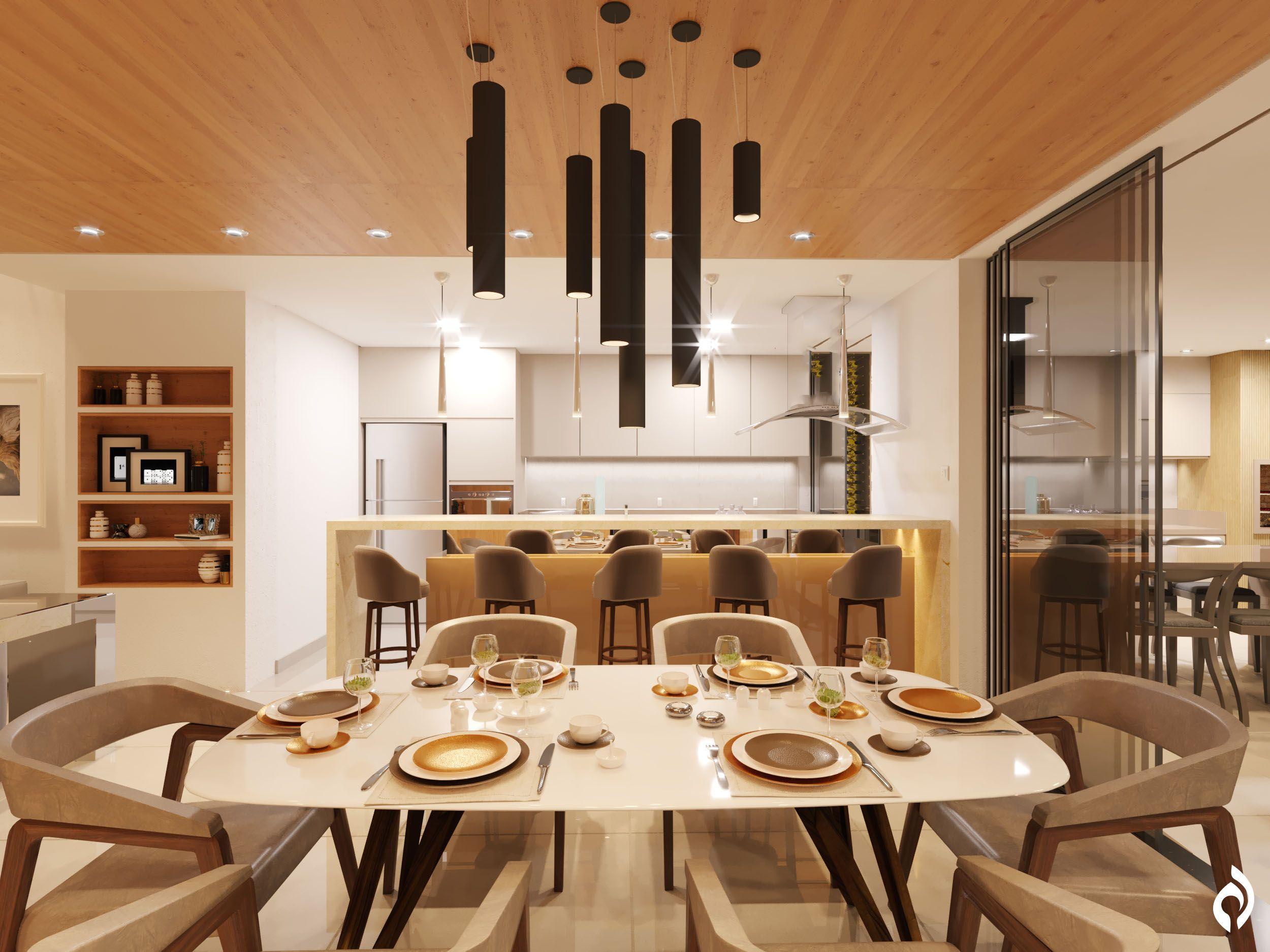 Arquitetura De Interiores Av, Ambiente Sala De Jantar E Cozinha