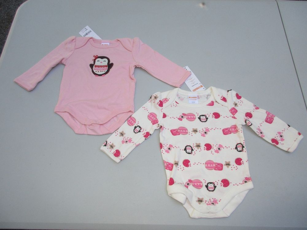 85911a460 Gymboree Size 0-3 Month Love Candy Penguin Long Sleeve One-Piece Shirt Lot