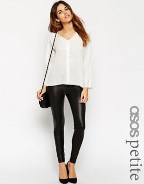 Asos Womens Petite Wet Look Skinny Pant Black - Pants