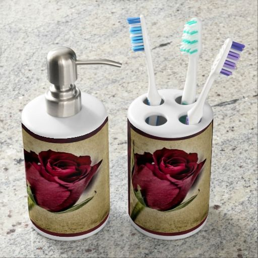 Elegant Red Rose Bathroom Set