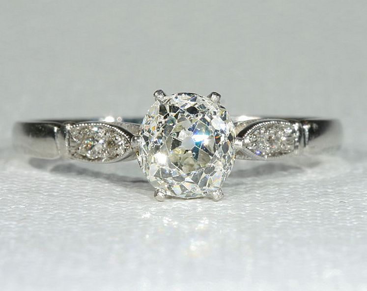Vintage Cushion Cut Diamond Platinum Solitaire Engagement Ring From Vsterling On Ruby Lane