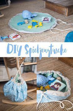 DIY Spielzeugtasche nähen - Spieldecke mit Tunnelzug für mehr Ordnung #diytutorial