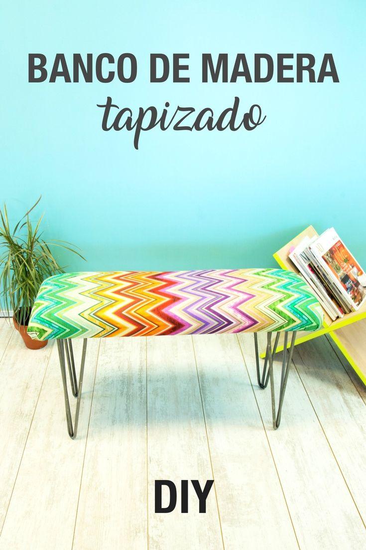 Banco de madera tapizado ➜  Crea un banco para tu casa con madera, tela y unas patas metálicas bonitas. #Banco #Madera #Patas #Horquilla #Dormitorio #Salón #DIY #Decoración #Bricolaje #Handfie