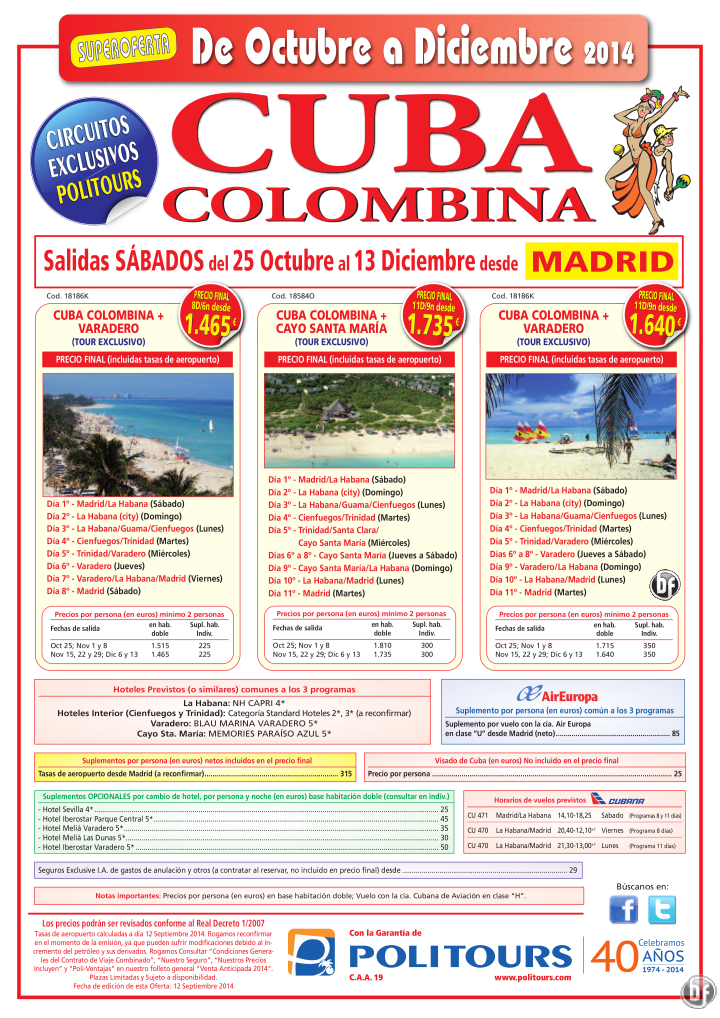 CUBA Colombina + Cayo Sta. María, sal. Sábados del 8/11 al 13/12 dsd Mad (11d/9n) p.f. dsd 1.735€ ultimo minuto - http://zocotours.com/cuba-colombina-cayo-sta-maria-sal-sabados-del-811-al-1312-dsd-mad-11d9n-p-f-dsd-1-735e-ultimo-minuto/