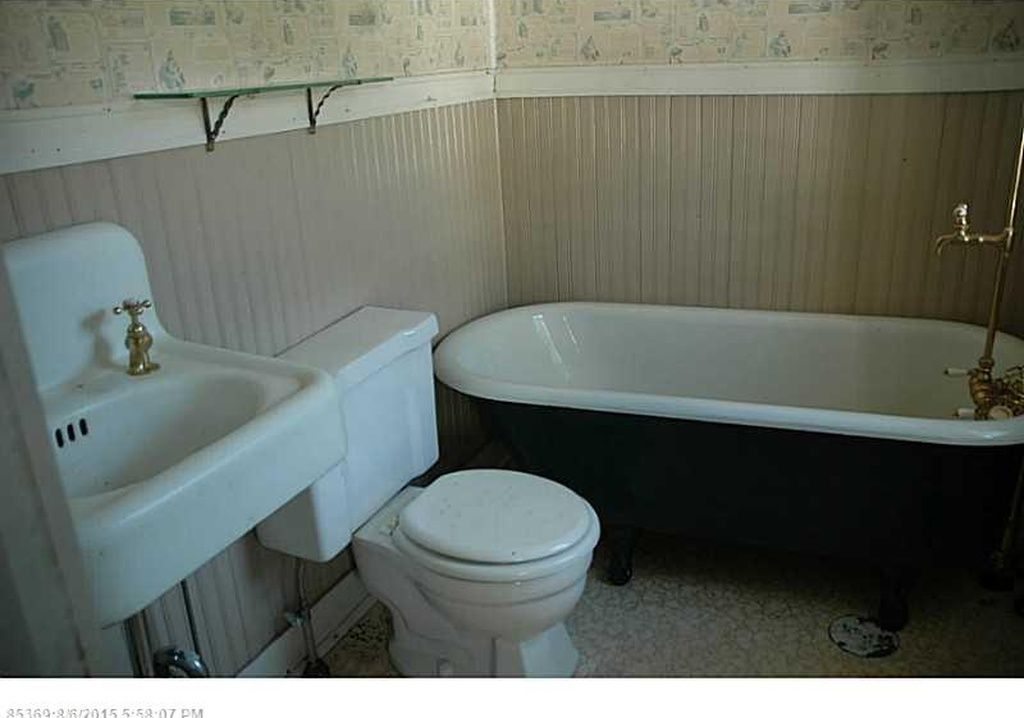 original vintage bathroom - antique sink, clawfoot tub, beadboard ...